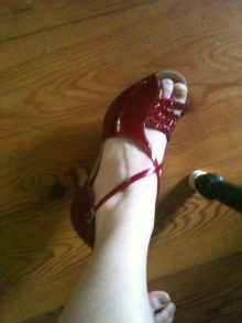 To-die-for red patent leather peep toes.